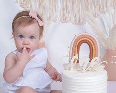 Birthday Cake Crown, Birthday Cale, Rainbow First Birthday, 1st Birthday Cake Smash, Baby Girl 1st Birthday, Rainbow Theme, First Birthday Parties, Birthday Party Themes, Rainbow Smash Cakes