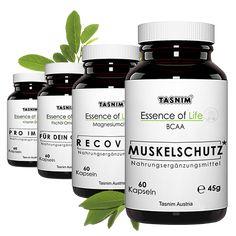 Tasnim BCAA – hilft dabei Muskelschmerzen zu verringern und verbessert gleichfalls die Erholungszeit Magnesiumcitrat – beugt Müdigkeit, Erschöpfung & Krämpfen vor und verbessert den Elektrolythaushalt Omega 3 Fischöl – das enthaltene EPA und DHA fördern eine normale Herzgesundheit Vitamin D3 – fördert gesunde Knochen HPMC Kapseln auf 100% rein pflanzlicher Basis Vitamin D3, Omega 3, Fitness, Muscle Pain