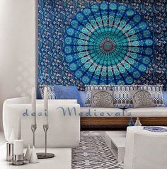 Blue Indian Mandala Traditional Lovely Tapestry Wall hanging      Its uses are-  Wall DECOR Sofa Throw Bedspread Picnic Cloth Curtains Table Cover  PRODUCT SPECIFICATION:    - Fabric: 100% Cotton...@ artfire
