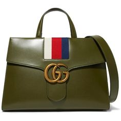 Gucci Gg Marmont Striped Canvas-trimmed Leather Tote Army green - Gucci tote - Ideas of Gucci Tote - Gucci Gg Marmont Striped Canvas-trimmed Leather Tote Army green Gucci Handbags, Leather Handbags, Leather Purses, Leather Totes, Tote Handbags, Prada Purses, Leather Bags, Cheap Gucci Bags, Gucci Crossbody Bag