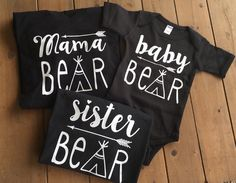 This comfy shirt is the perfect addition for every baby bear. Great for everyday wear, family photos and birthday parties.  Onesie/Tshirt is made with white vinyl on a black shirt/onesie. **Other color shirts are available upon request. Vinyl is pressed onto shirt using a professional heat press and is made to last! It provides a soft flexible finish that is comfortable to the touch. >>This listing is for the BABY BEAR shirt only<<  Lots of matching styles available- Mama Bear, Momma Bear…