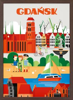 Gdańsk - wall-being Art Deco Posters, Poster Prints, Art Prints, Polish Posters, City Illustration, Decorating With Pictures, Art Deco Period, Map Design, Europe