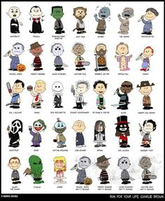 Peanuts Characters as Horror Movie Icons.