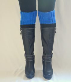 boot cuffs  hand knit royal blue boot cuffs boot socks by bstyle, $25.00