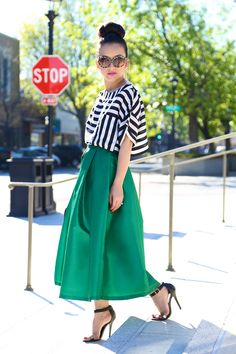 KTRcollection emerald green midi skirt and stripe crop top