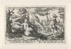 Crispijn van de Passe (I) | Apollo doodt Coronis, Crispijn van de Passe (I), Franco Estius, 1602 - 1607 | Apollo hoort van een witte kraai dat zijn minnares Coronis hem verlaten heeft. Hij doodt Coronis vervolgens door haar met een pijl neer te schieten. In de marge een vierregelig onderschrift, in twee kolommen, in het Latijn.
