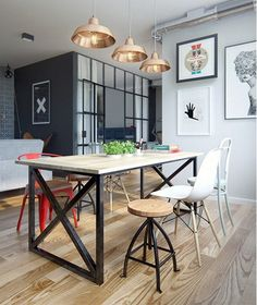 Vintage Industrial Decor Amazing modern industrial apartment by Int 2 Architects // Increíble departamento vintage industrial moderno // Casa Haus Room Design, Interior, Dining Room Design, Home Decor, Industrial Dining, House Interior, Apartment Decor, Dining Room Industrial, Interior Design