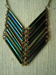 Peacock Chevron Bugle Bead Necklace by girlsewcute on Etsy, $25.00