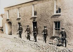 A Garda patrol outside the old RIC barracks at Emyvale, Co. Monaghan sometime in the Note the Garda crest above the door, where the old RIC station plaque would have been. Folklore, Dublin, Old Photos, Wwii, Paths, Ireland, Dancing, Irish, Police
