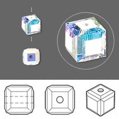 Bead, Swarovski crystal, Crystal Passions, crystal AB, 6x6mm faceted cube (5601). Sold per pkg of 144 (1 gross).