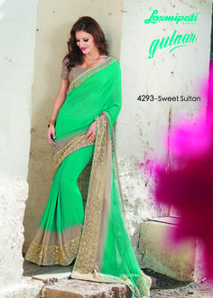 Buy this amazing Rama Green & Chikoo Color Designer Georgette Saree along with Brocade Color Chikoo Blouse work with Net Embroidery Border from #LaxmipatiSaree. 100% genuine products guaranteed. Limited Stock! #Catalogue #GULNAR Price - Rs. 2346.00 #GaneshChaturthi #Ganesh #monsoon #Shopping #Shoppingday #ShoppingOnline #fashionstyle #ReadyToWear #OccasionWear #Ethnicwear #FestivalSarees #Fashion #Fashionista #Couture #LaxmipatiSaree #