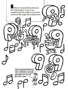 Great accompaniment coloring page for a Beethoven listening activity from Crayola.com