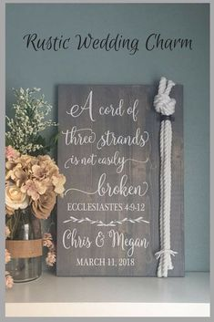 Cord Of Three Strands Sign Ecclesiastes 4 9 12 Alternative Unity Candle Ceremony Wedding Gift