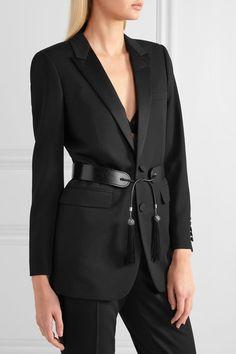 Saint Laurent - Tasseled Glossed-leather Waist Belt - Black - 85