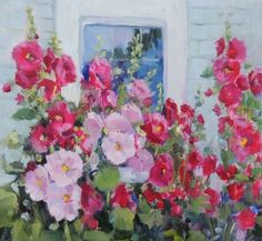 Hollyhocks 8 x 8 oil painting on Museum Gessobord by Carolyn Opderbeck… Oil Painting On Canvas, Painting & Drawing, Watercolor Flowers, Watercolor Paintings, Watercolors, Acrylic Art, Painting Inspiration, Flower Art, Amazing Art
