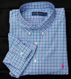New 4XB 4XL BIG 4X POLO RALPH LAUREN Mens button down dress shirt blue 20 XXXXL