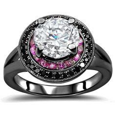 Noori 14k Black Gold 1 1/2-carat TGW Round Moissanite Pink Sapphire Black Diamond Engagement Ring