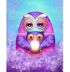 NEW! Nesting Doll Owl - Mom and Baby Matryoshka - Purple Lilac Mint White Floral Watercolor Painting - Nursery Art