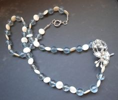 Repurposed vintage beaded blue and white by RedRadishStudio, $14.95 Pearl Necklace, Beaded Necklace, Blue Beads, Repurposed, Blue And White, Jewellery, Pearls, Studio, Red