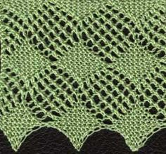 Knitted lace edging with diamond pattern 'Moira Square Lace'