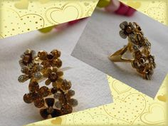 Maxi Anillo Dorado de Acero con cristales SWA Elements. Cinnamon Sticks, Spices, Steel, Crystals, Jewels, Spice