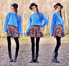 I love braids, I love blue, I love high waisted (though not as high as it could be!!) skirts & the black tights w/ boots & hat add some rough edges!! <3