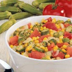 Okra Medley Recipe -My husband, Charles, came up with this recipe. Pair it with a crispy pan of hot corn bread and you have a wonderful healthy meal.