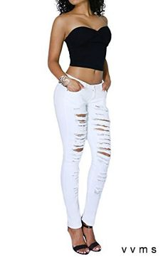 Womens Fashion Comfort Casual Ripped Denim Skinny Jean Full Length Collection (SIZE : 7 WHITE-HP2409)