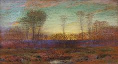 """""""Sunset through the Trees,"""" Dwight William Tryon, pastel on paper, 6 1/4"""" x 11 1/4"""", The Cooley Gallery."""
