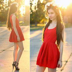 Ariadna Majewska - Romwe Red Flared Dress, Mart Of China Black Strap Sandals, Handmade By Me Floral Headband - Red dress | LOOKBOOK