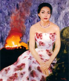 Silvano Caselli - Portrait of Maria Callas, 1957. Callas was the most renowned and influential opera singers of the 20th century. (This portrait was commissioned by her husband, Giovanni Battista Meneghini, in the year she met Aristotle Onassis when their marriage began to decline. It was lost on January 29, 1996 when the Teatro La Fenice burned down. In 2006 Caselli recreated it, unchanged but for the burning Fenice in the background.)