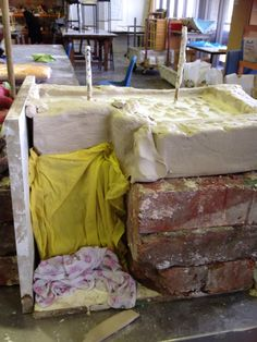 Plaster work in the makeshift mould