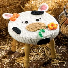 Farm Animal Stools: Cow - Magazine by Alessandra Hayden of Just Be Happy Crochet / Cows & Bulls - Animal Crochet Pattern Round Up - Rebeckah's Treasures Crochet Cow, Crochet For Kids, Crochet Animals, Crochet Home Decor, Crochet Crafts, Crochet Projects, Crochet World, Crochet Furniture, Cow Pattern