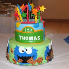 Cookie monster birthday theme birthday cake
