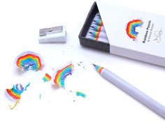 Made from recycled paper, rainbow pencils let you create beautiful paper rainbows when you sharpen them. Rainbow Pencils function like regular wooden pencils, and are the same size and weight, but the Too Cool For School, Back To School, Cute Stationary, Cute School Supplies, Fun Office Supplies, Cool Inventions, Interactive Design, Cool Things To Buy, Cool Stuff To Buy