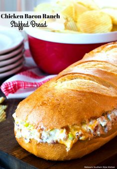 This classic flavor combination comes alive in this made-for-sharing Chicken Bacon Ranch Stuffed Bread. The ingredients for the filling are simple to whip together and it's chocked full of flavor. The filling is sandwiched between Appetizer Recipes, Snack Recipes, Cooking Recipes, Appetizers, Sandwich Recipes, Lunch Sandwiches, Slider Recipes, Dinner Recipes, Healthy Recipes