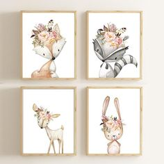 Baby Girl Gift Nursery Art Nursery Decor Woodland Nursery Set of 4 Prints Woodland Animals Prints Wall Art Baby Shower Gift Nursery Woodland Creatures Nursery, Woodland Animal Nursery, Woodland Nursery Decor, Baby Nursery Decor, Woodland Animals, Safari Nursery, Woodland Baby, Baby Decor, Baby Wall Art