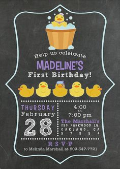 This fun chalkboard and rubber ducky themed party invitation is perfect to celebrate the birthday girl. This listing includes 1 customized