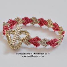 Heart bracelet pattern uses brick stitch and herringbone to make a beaded bracelet. Full instructions with diagrams and photos by Katie Dean. Intermediate.
