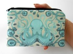 Aqua Octo Garden Little Zipper pouch Coin Purse Gadget Case ECO Friendly Padded by JPATPURSES, $8.00