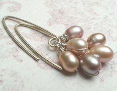 Pastel Pearl Sterling Silver Earrings Long dangling by YLOjewelry