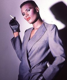 "Grace Jones ""don't care"" attitude and androgynous appearance made her a prominent figure in the 1980's"