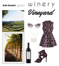 """Winery"" by tinaya-i ❤ liked on Polyvore featuring Pottery Barn, Steve Madden, Chicwish, Wildfox, Nine West, napa, winerywedding, bestdressedguest and vineyardwedding"