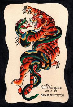 Traditional tiger fighting snake (on right lower leg)
