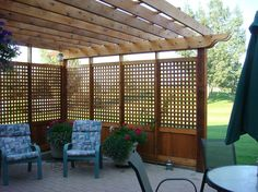Pergola with Privacy screening THIS with planters around the outside.