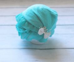 Newborn Aqua Slouch Hat by PetuniaandIvy on Etsy, $22.00