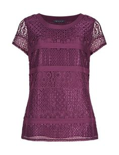 Magenta Short Sleeve Lace Top