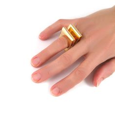 Statement gold  ring Geometric ring Big ring by LuccaFineJewelry, $94.17