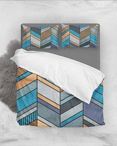 olorful Concrete Chevron Pattern - Blue, Gray, Brown // Duvet Cover + Pillow Shams by Zoltan Ratko // This pattern design is also available as a wall art, apparel, tech and home product. Pillow Shams, Pillow Covers, Bed Pillows, Linen Bedding, Brown Bedding, Grey Duvet, Cozy Bedroom, Master Bedroom, Brown Duvet Covers