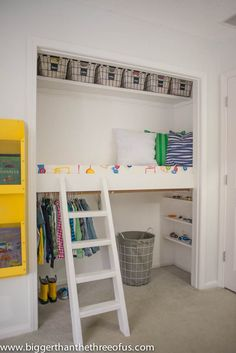 Every kid loves little hiding spots to play in. Ashley of Bigger Than the Three of Ustransformed her son's lackluster closet into a space that's part reading nook, part storage space. See more at Bigger Than the Three of Us >>   - HouseBeautiful.com